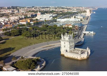 Aerial view of Belem tower - Torre de Belem  in Lisbon, Portugal - stock photo