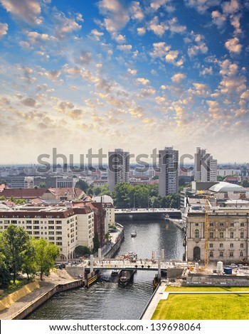 Aerial view of Berlin and Spree River in a beautiful summer day - Germany - stock photo