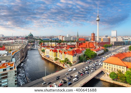 Aerial view of Berlin skyline and Spree river in summer, Germany - stock photo
