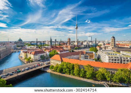 Aerial view of Berlin skyline with famous TV tower and Spree river in summer, Germany - stock photo