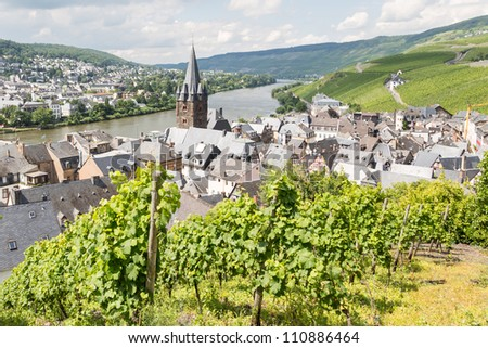 Aerial view of BernKastel-Kues at the river Moselle in Germany - stock photo