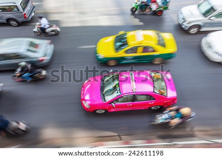 aerial view of big traffic in Bangkok, Thailand, in motion blur - stock photo
