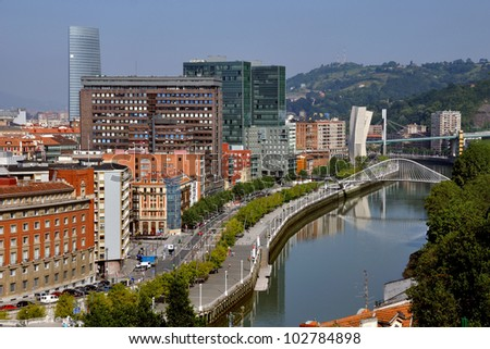 Aerial view of Bilbao, Spain city downtown with a Nevion River, Zubizuri Bridge and promenade. It is a capital of province of Biscay, a very large city and a popular touristic destination.
