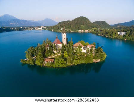 Aerial view of Bled in Slovenia, shot with a drone from the sky. - stock photo