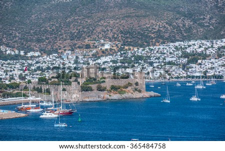 Aerial view of Bodrum on Turkish Riviera - stock photo