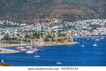 Aerial view of Bodrum on Turkish Riviera - stock photo
