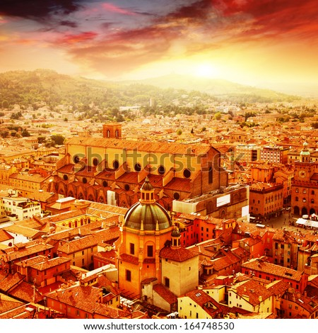 Aerial view of Bologna at sunset. Italy. - stock photo
