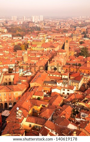 Aerial View of Bologna City - stock photo