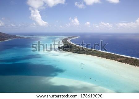 Aerial View of Bora Bora - stock photo
