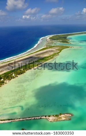 aerial view of bora bora airport, french polynesia - stock photo