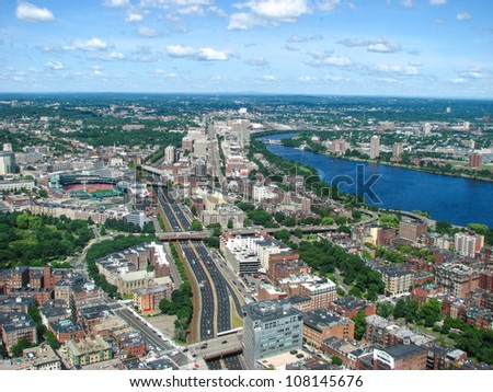 Aerial view of Boston Downtown Area - Massachusetts