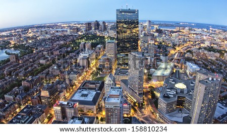 Aerial View of Boston in Massachusetts at the sunset. - stock photo