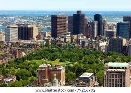 Aerial view of Boston in Massachusetts in the summer season with the Boston Common and Public Garden.