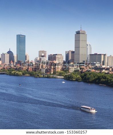 Aerial view of Boston in Massachusetts, USA on a sunny summer day.