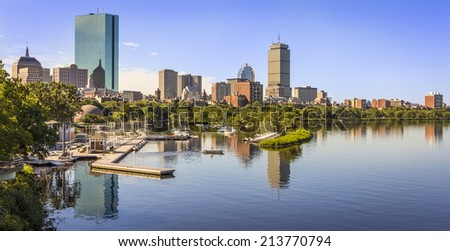 Aerial view of Boston in Massachusetts, USA showcasing its famous skyscrapers and marina by the Charles River on a sunny morning. - stock photo