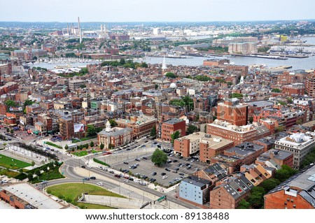 Aerial view of Boston North End, Old North Church and Italian Community, Boston, USA