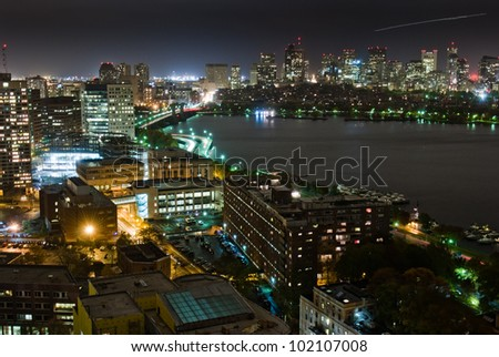 Aerial view of Boston's Back Bay skyline at night - stock photo