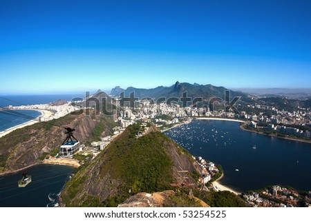 aerial view of botafogo and copacabana with the from the sugar loaf in rio de janeiro brazil