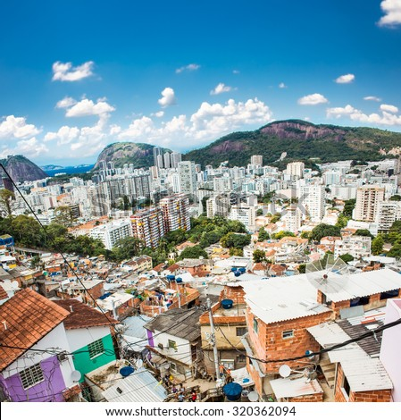 Aerial view of Botafogo district from the Santa Marta favela (slum) in Rio de Janeiro, Brazil. - stock photo