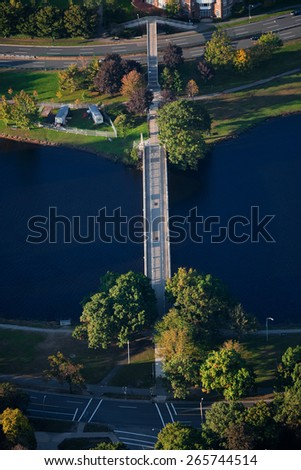 AERIAL VIEW of bridge across Charles River, Boston, MA  - stock photo