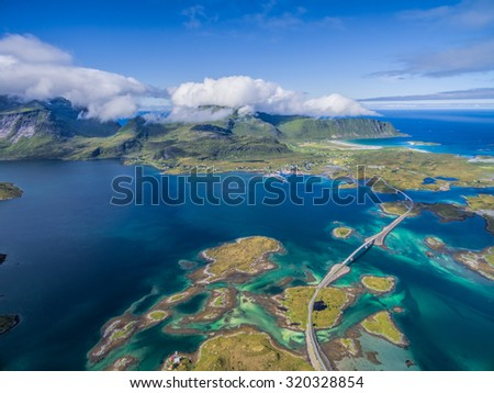 Aerial view of bridges on Lofoten islands in Norway - stock photo