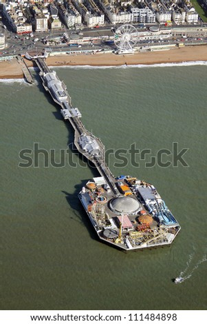 aerial view of Brighton pier, Sussex - stock photo