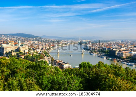 Aerial view of Budapest and the Danube river  from Gellert hill - stock photo