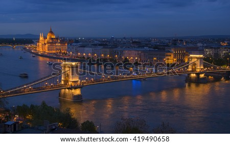 Aerial view of Budapest city from Castle Hill with Danube river, Chain Bridge and Parliament Building at twilight, Budapest, Hungary    - stock photo