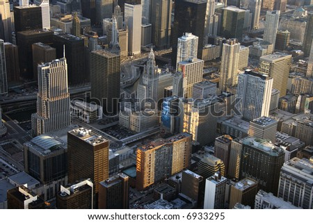 Aerial view of buildings in downtown Chicago, Illinois.