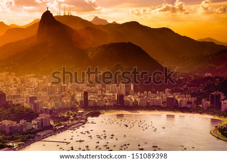 Aerial view of buildings on the beach front, Botafogo, Guanabara Bay, Rio De Janeiro, Brazil - stock photo