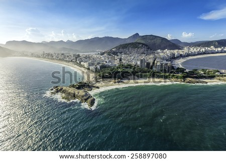 Aerial view of buildings on the Copacabana and Ipanema Beach in Rio de Janeiro, Brazil - stock photo