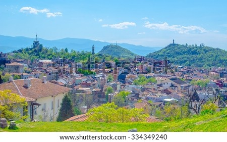 aerial view of bulgarian city plovdiv taken from the hill where antique fortress used to stay.