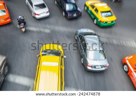 aerial view of busy traffic in Bangkok, Thailand, in motion blur - stock photo