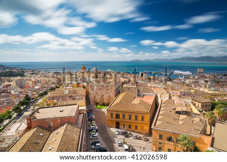 Aerial view of Cagliari Capital of Sardinia - Long exposure to move the clouds in the sky - stock photo