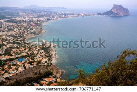 Aerial view of Calp town and bay, Spain.