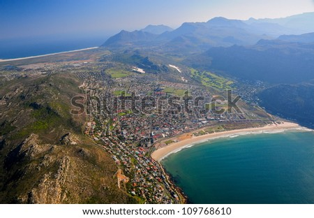 Aerial view of Cape Town area, South Africa - stock photo