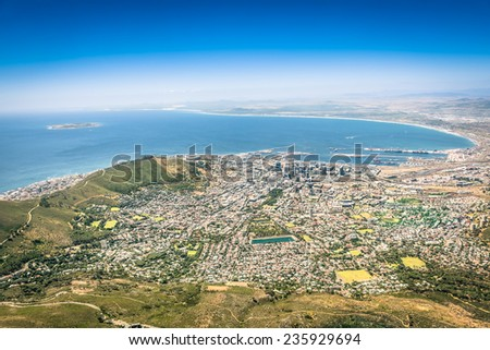 Aerial view of Cape Town skyline from lookout viewpoint - South Africa city tour - Trip excursion to panoramic view at modern seven nature wonder Table Mountain - stock photo