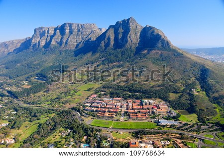 Aerial view of Cape Town University & Table Mountain, South Africa - stock photo