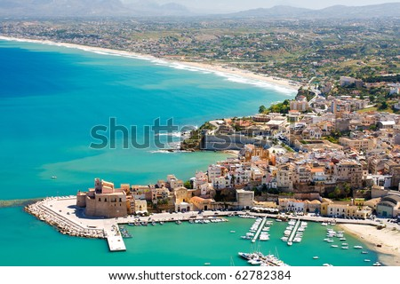 Aerial view of Castellamare del Golfo in Sicily,Italy - stock photo