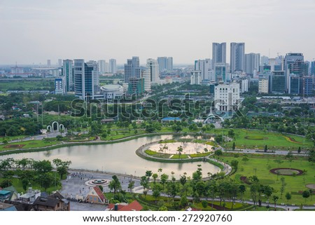 Aerial view of Cau Giay park, Hanoi skyline cityscape at twilight - stock photo