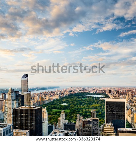 Aerial view of Central Park in New York City, United States of America - stock photo