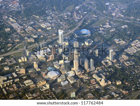 Aerial view of Charlotte, North Carolina - stock photo