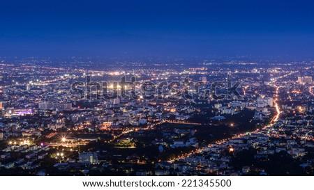 aerial view of chiangmai thailand at twilight night - stock photo