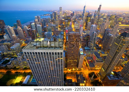 Aerial view of Chicago at dusk, IL, USA - stock photo
