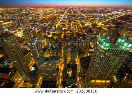 Aerial view of Chicago at twilight, IL, USA - stock photo