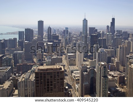 Aerial view of Chicago city, United States of America - stock photo