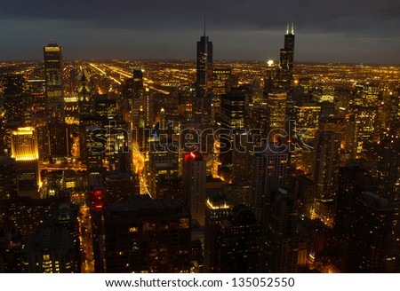 Aerial view of Chicago downtown - stock photo