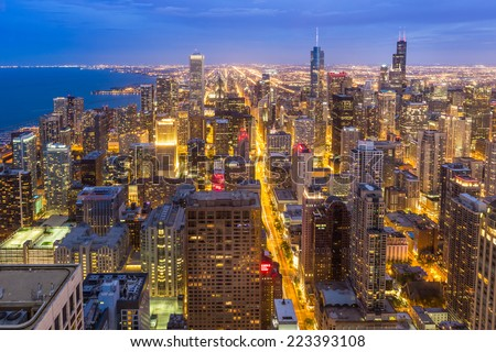 Aerial view of Chicago downtown skyline at night - stock photo