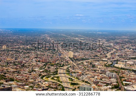 Aerial view of Chicago Land - stock photo
