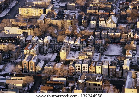 Aerial view of Chicago suburbs in winter, Chicago, IL - stock photo